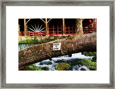 No Climbing Framed Print by Julie Clements