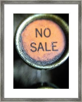 No Sale Framed Print by Natasha Marco