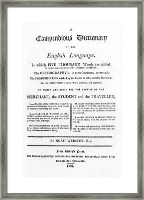 Noah Webster Title-page Framed Print
