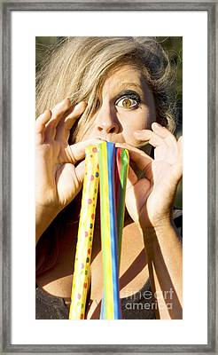 Noisemaker Party Woman  Framed Print by Jorgo Photography - Wall Art Gallery