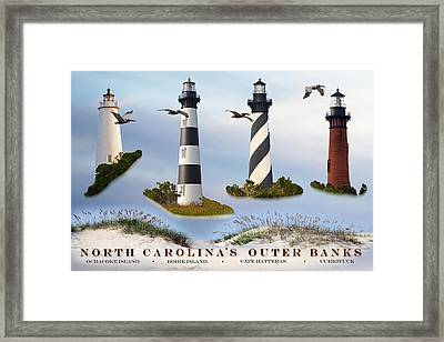 North Carolina's Rt. 12 Lighthouses Framed Print
