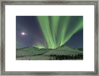 Northern Lights Shimmer Over The White Framed Print by Hugh Rose