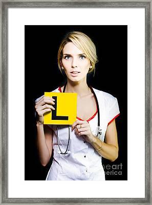 Novice Nurse Or Medical Student Framed Print by Jorgo Photography - Wall Art Gallery