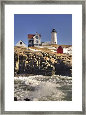 Nubble Lighthouse 3 Framed Print by Joann Vitali