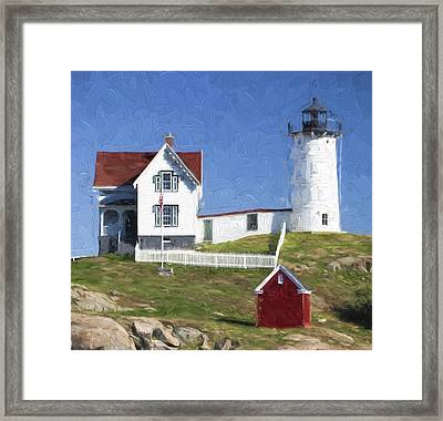 Nubble Lighthouse Maine Painterly Effect Framed Print by Carol Leigh