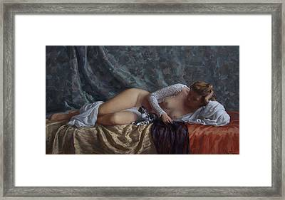 Nude With A Kitten Framed Print by Korobkin Anatoly