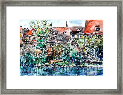 Framed Print featuring the painting Nuremberg Southern Riverside Of Pegnitz by Alfred Motzer