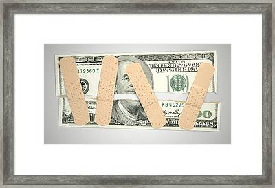 Nursed Torn Us Dollar Framed Print by Allan Swart
