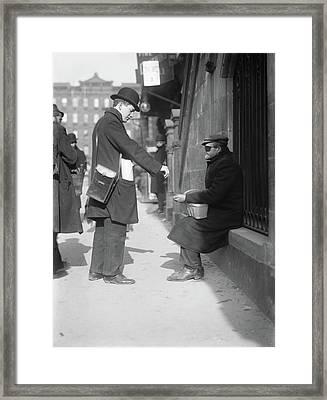 Nyc Beggar, C1915 Framed Print