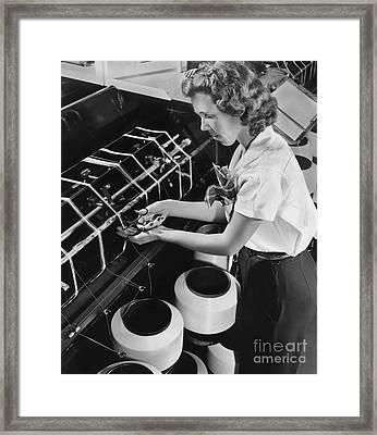 Nylon Production, 1940s Framed Print by Hagley Archive