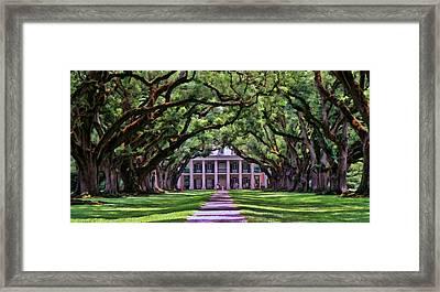 Oak Alley Framed Print by Allen Beatty
