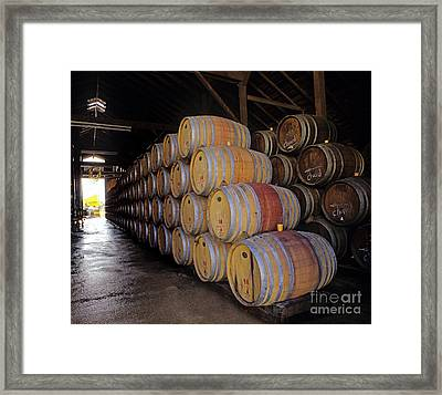 Oak Barrels At Ventana Vineyards Framed Print