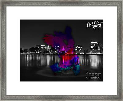 Oakland Map And Skyline Watercolor Framed Print by Marvin Blaine