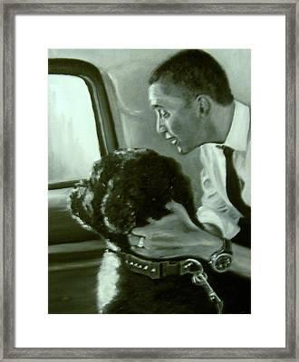 Obama And Bo Framed Print