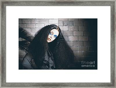 Occult Medieval Performer On Castle Brick Wall Framed Print by Jorgo Photography - Wall Art Gallery