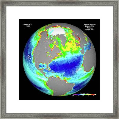 Ocean Chlorophyll Concentrations Framed Print by Nasa/suomi Npp/norman Kuring