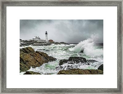 Ocean Storm At Portland Head Framed Print