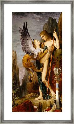 Oedipus And The Sphinx Framed Print