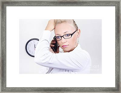 Office Girl Talking On Mobile Smartphone Framed Print by Jorgo Photography - Wall Art Gallery