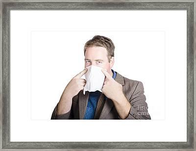 Office Man Avoiding Contagious Flu Like The Plague Framed Print by Jorgo Photography - Wall Art Gallery