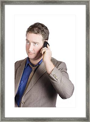 Office Manager Talking Business On Smartphone Call Framed Print