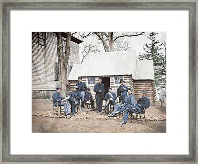 Officers At Headquarters Of 6th Army Framed Print