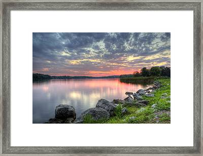 Ohio Lake Sunset Framed Print