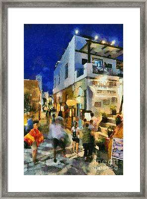 Oia Town By Night Framed Print by George Atsametakis