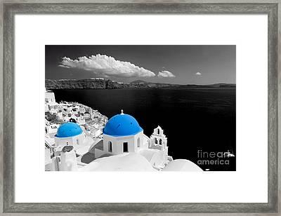Oia Town On Santorini Island Greece Blue Dome Church Black And White. Framed Print