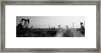 Oil Drills In A Field, Maricopa, Kern Framed Print