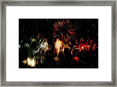 Oil Fireworks Framed Print by Stefan Petrovici