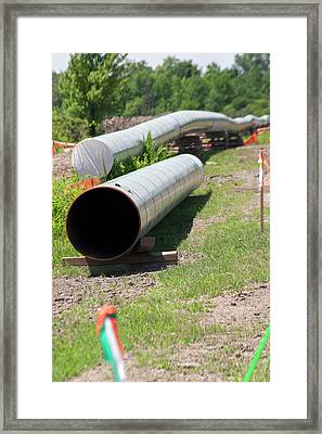 Oil Pipeline Construction Framed Print by Jim West
