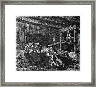 Oil Press, 19th Century Framed Print by CCI Archives