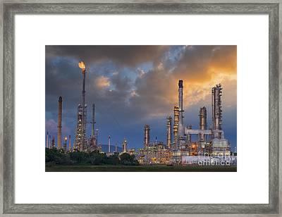 Oil Refinery Along Twilight Sky Framed Print