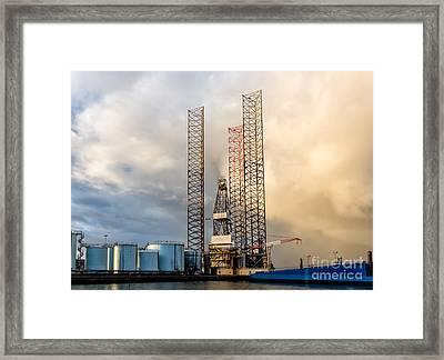 Oil Rig In Esbjerg Harbor Denmark Framed Print