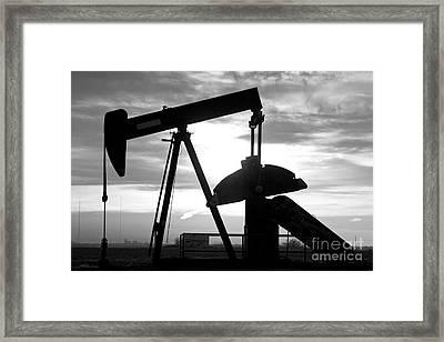 Oil Well Pump Jack Black And White Framed Print