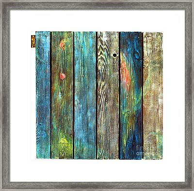 Old Barnyard Gate With Colors Brightened Framed Print by Asha Carolyn Young