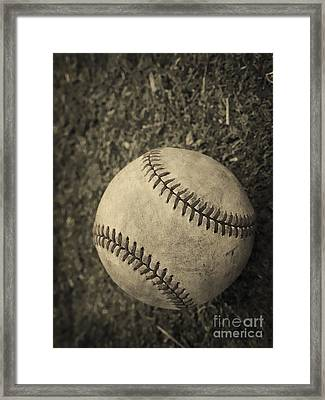Old Baseball Framed Print by Edward Fielding