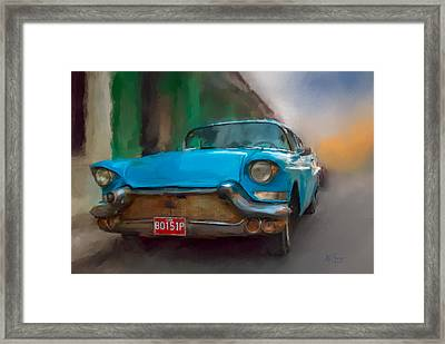 Framed Print featuring the photograph Old Blue Car by Juan Carlos Ferro Duque