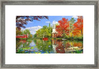Old Church At Autumn Lake Framed Print