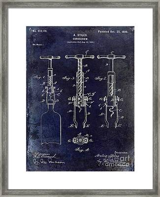 1898  Corkscrew Patent Drawing Framed Print by Jon Neidert