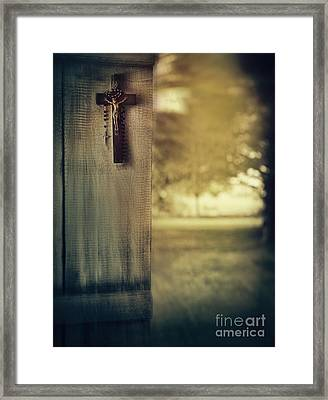 Old Cross Of Window Shutter Door Framed Print by Sandra Cunningham