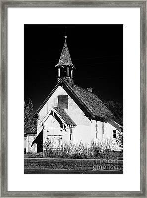 old disused abandoned small rural church bengough Saskatchewan Canada Framed Print
