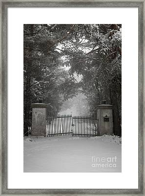 Old Driveway Gate In Winter Framed Print