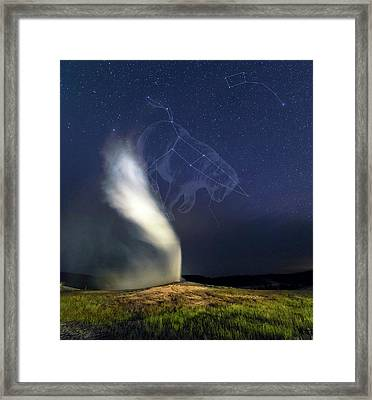 Old Faithful Geyser And Ursa Major Stars Framed Print