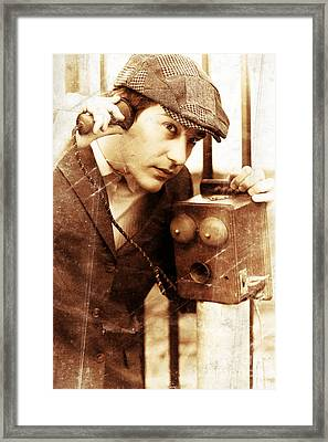 Old Fashioned Vintage Man Talking Through Antique Phone Framed Print by Jorgo Photography - Wall Art Gallery