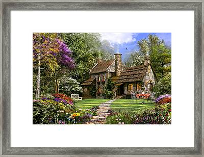 Old Flint Cottage Framed Print