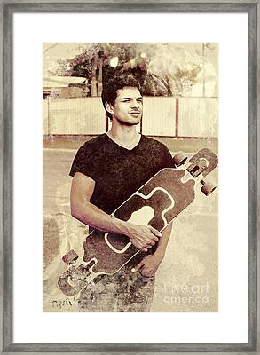 Old Grunge Photo Of A Cool Male Skater Framed Print by Jorgo Photography - Wall Art Gallery