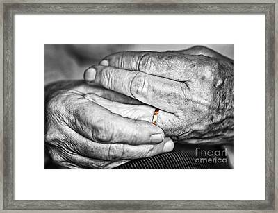 Old Hands With Wedding Band Framed Print