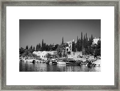 Old Harbour In Spetses Town Framed Print